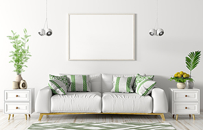 Modern interior of living room with white sofa, chests, poster and lights over white wall 3d rendering