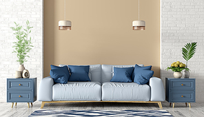 Modern interior of living room with light blue sofa, cabinets and lights 3d rendering