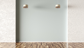 Empty room interior background, light green and white brick wall and lamps 3d rendering