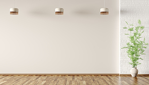 Empty room interior background, beige and white brick wall wall, vase with green branch and lamps 3d rendering