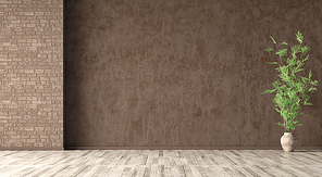 Empty room interior background, brown stucco wall, vase with branch on the beige parquet flooring 3d rendering