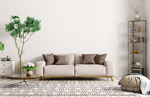 Modern interior of apartment, living room with beige sofa, coffee table, rug and shelf 3d rendering
