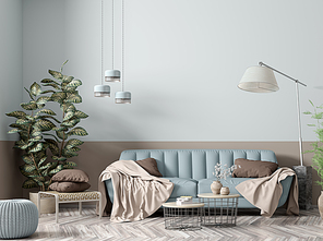 Modern interior of apartment, living room with blue sofa, floor lamp, coffee tables and plant 3d rendering