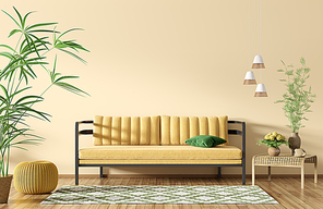 Modern interior of apartment, living room with sofa over yellow wall, coffee table and rug 3d rendering