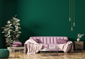 Modern interior of apartment, living room with pink sofa, coffee tables and plant 3d rendering
