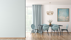 Interior of modern dining room, blue table and chairs against white wall with big window and curtain, mock up wall 3d rendering