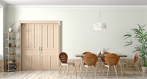 Interior of modern dining room,wooden table and chairs against wall with door 3d rendering
