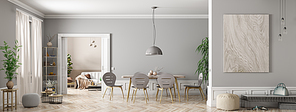 Modern interior of apartment, dining room with table and chairs, living room with sofa, hall panorama 3d rendering