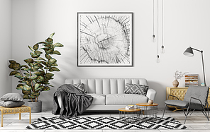 Modern interior of apartment, living room with grey sofa, armchair, coffee tables and plant 3d rendering