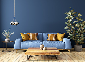 Modern interior design of living room with sofa, wooden coffee table, plant, against blue wall 3d rendering