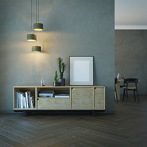 living room interior with wooden sideboard, 3d rendering