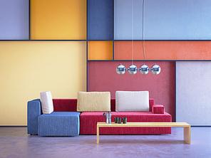modern interior of room in pop-art style, 3d rendering