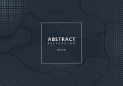 Abstract wavy geometric dynamic 3D black or gray background with halftone texture. Trendy gradient fluid shapes composition modern concept. Vector illustration