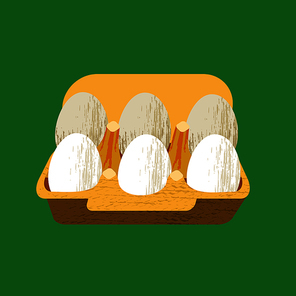 Set of 6 fresh eggs in a cardboard box. Vector illustration on green background with unique hand drawn vector texture. Flat style.