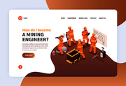 Mine landing web page design concept with images of mine workers in uniform and clickable links vector illustration