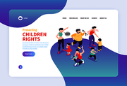 Isometric positive and negative parenting web site landing page design with parents kids links and text vector illustration