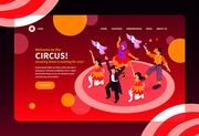 Isometric circus performers show concept banner web site landing page design background with text and images vector illustration