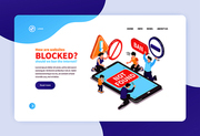 Isometric banned website concept banners web site landing page design background with text links and images vector illustration
