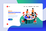 Isometric teamwork brainstorming concept banner web site landing page design with clickable links text and images vector illustration