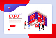 Isometric expo stand concept banner for web site landing page with exhibition booth design and links vector illustration