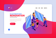 Home renovation remodeling service online concept isometric web banner with professional window frames replacement installation vector illustration