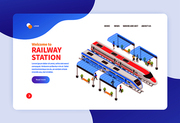Isometric railway station concept banner web site landing page design with clickable links and editable text vector illustration