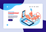 Isometric biometric identification concept banner web site landing page with clickable links and human hand images vector illustration