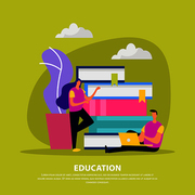 Education flat composition with library books human characters with electronic device on olive background vector illustration