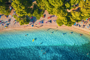 Aerial view of sandy beach with colorful umbrellas, swimming people, clear sea bay with transparent blue water and green trees at sunset in summer. Travel in Croatia, Adriatic sea. Top view. Seascape