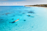Aerial view of the fishing boat in clear blue water at sunny day in summer. Top view of boat, sandy beach, palm trees. Indian ocean. Travel in Zanzibar, Africa. Colorful landscape with yacht, sea