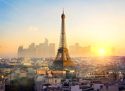 Parisian cityscape with the view on Eiffel Tower at sunset, France