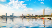 Panorama of the Nile River, view of the Cairo city
