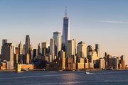Aerial view of New York city Manhattan skyline cityscape  from New Jersey.