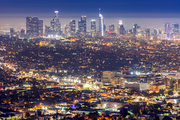 Los Angeles Downtown sunset aerial view, California, USA