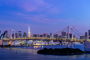Aerial view of Tokyo skylines with Rainbow bridge and tokyo tower over Tokyo bay Sunrise dawn Twilight from Odaiba in Tokyo city Kanto Japan.