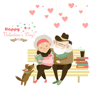 Old couple in love sitting on bench. Vector romantic greeting card
