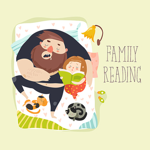 Father reading a book to his daughter. Vector illustration