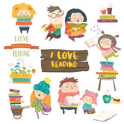 Set of cartoon children reading books. Vector collection