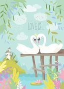 Cartoon swans in love. Fairy tale concept. Vector illustration