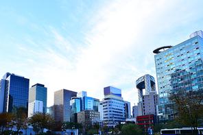 서울의 도심 한복판, 금융가,증권가,오피스텔,대기업,은행 등 첨단 초고층 빌딩들이 랜드마크와 스카이라인을 이루고있는 도시이미지