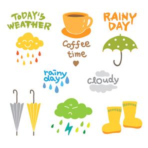 비오는 날 우산 장화 커피 일러스트 모음