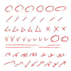 빨간 색연필 채점 교정 낙서 일러스트 벡터
