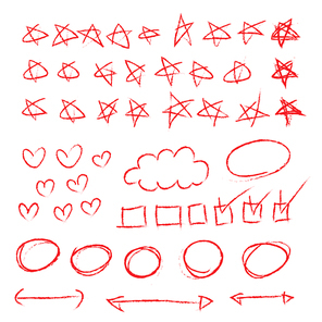 빨간 색연필 별표 하트 그림 낙서 일러스트 벡터