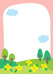 꽃 나무 구름 잔디 봄 유치원 어린이집 원아모집 새학기 알림장 공지사항 키즈노트 프레임 배경 삽화 동화 손그림 일러스트레이터 벡터 백그라운드