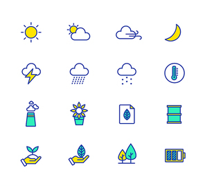 웹 또는 모바일, 날씨 라인 아이콘