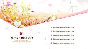 파워포인트 배경 (자연) 코스모스 꽃길 - 와이드