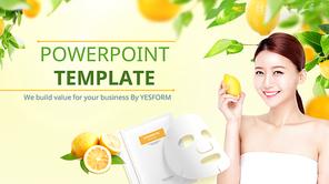 파워포인트 배경 (미용) 레몬 마스크팩 - 와이드