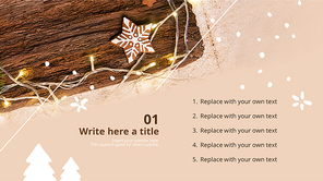 파워포인트 배경 (이벤트) 전구와 크리스마스 - 와이드