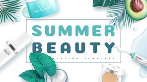 Summer Beauty PPT 배경 템플릿 (뷰티, 미용)