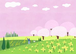 봄풍경일러스트 001